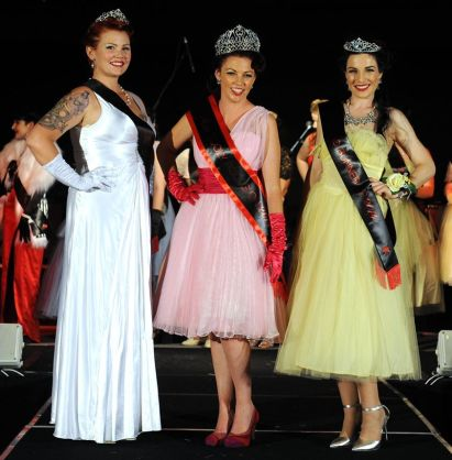 The lovely 1st Runner Up Miss Kitten Darling, Miss Cooly Rocks on 2014, Miss Petticoat Polly and I posing after the announcement! Proud moment! Photography by John Gas for Cooly Rocks On.