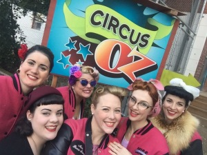 All the pinups gather at Circus Oz. Miss Cleopatra Portman, Miss Lorelei Jean, Miss Wurple Violet, Miss Roxie Snow, Miss Rouge Pearl and I